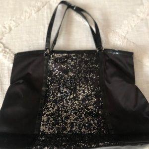 DSW sparkly black tote